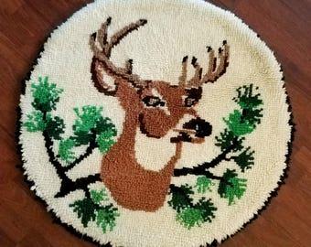 Vintage Latch Hook Rug Round Deer Head Tree Branch Wool Hand Made Rustic Cabin Décor Brown Cream 1970s