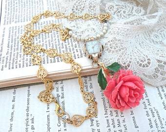 cabbage rose necklace assemblage summer romance hearts upcycled vintage jewelry watch case