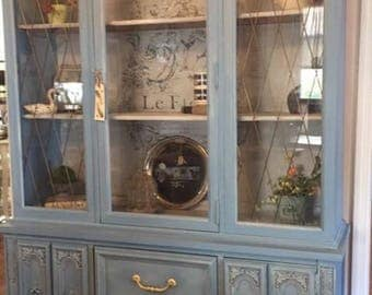 Vintage Hand Painted French Provincial China Cabinet 2 Piece