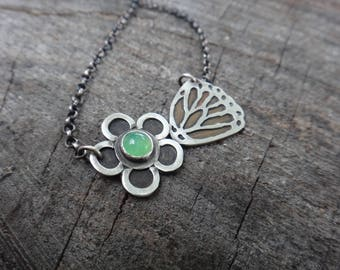 Small butterfly and Garden Flower Necklace