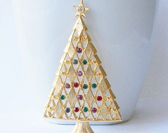 Vintage Christmas Tree Brooch, Vintage Christmas Jewelry, Christmas Tree Pin Brooch