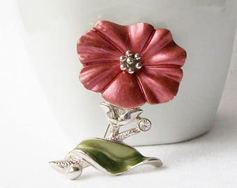Vintage Flower Brooch, Enamel Brooch, Vintage Enamel Brooch