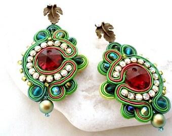 statement green crystal chandelier earrings | long red green swarovski earrings | bicolore statement jewellery | bead embroidered pearls
