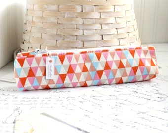 Skinny Pencil Pouch Triangles Geometric Pencil Case Cute Students Back to School