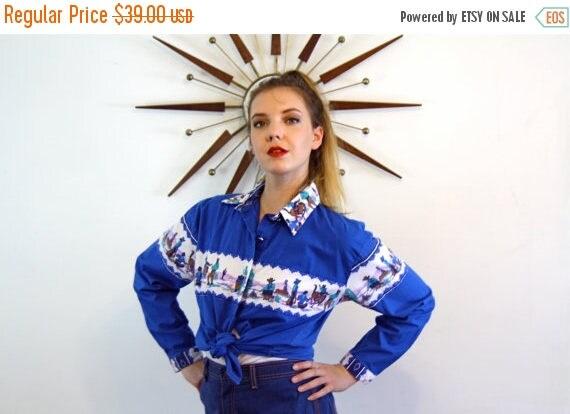 SALE 50% OFF Vintage 80s Western Cowboy Blouse by Saisa Royal Blue Bucking Bronco Cactus Camp Fire Print Navajo Pattern Southweat top 1980s