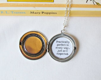 Practically Perfect Locket Necklace - Mary Poppins Quote Rose Jewelry Jewellery - Silver Cameo For Women
