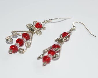Red angel inspired earrings