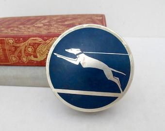 Art Deco Typewriter Ribbon Tin, Blue and Silver Greyhound by L.C. Smith, Minneapolis Typewriter Exchange, Advertising