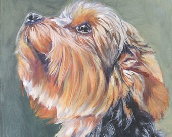 Yorkshire Terrier YORKIE dog portrait art canvas PRINT of LAShepard painting 8x10""