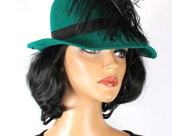 ON SALE Vintage Wool Hat 7 1/4 L 70s Teal Green Felt Huge Black Ostrich Feather Fedora Free Us Shipping
