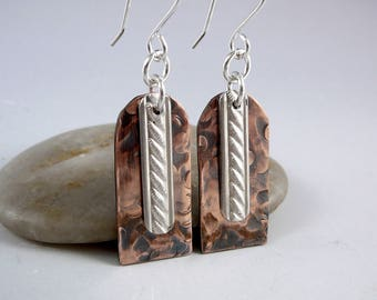 7th Anniversary Gift, Copper Earrings, Nickel Free Earrings, Copper Gift for Her, Mixed Metal Earrings Copper Anniversary Gift One of a Kind