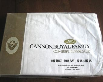 Flat Sheet Vintage but NEW Crisp Finer White All Cotton TWIN CANNON N I P
