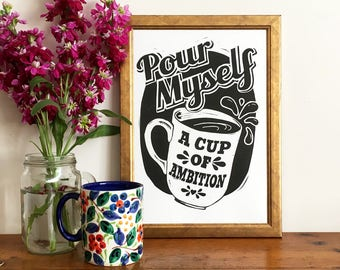 Dolly Parton Inspired Coffee Linocut Print - Lino print art, Kitchen Art, Hand Printed Art, Funny Print, Motivational Print, Coffee Lover,
