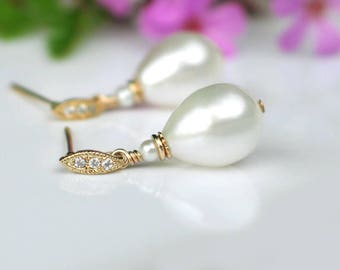 Teardrop Pearl Earrings | White Freshwater Drop Pearls | Petite Marquise CZ Gold Studs | Pearly Everlasting | Vintage Style | Ready to Ship