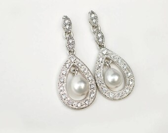CZ Pavé Teardrop Pearl Earrings | White Freshwater Pearl | CZ Encrusted Sterling Silver Dangles | Marquise Studs | Vintage Style Bridal Gift