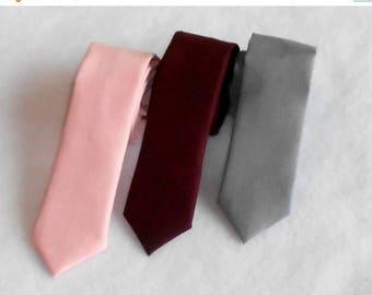 SALE Pink, Burgundy, or Gray Tie - Skinny or Standard Width- Men's, Youth, Teen         2 weeks before shipping