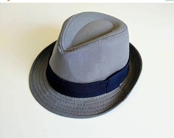 SALE Gray Fedora with Navy Blue Band. Toddler and Boy. 2 weeks before shipment.