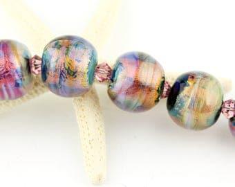 Lampwork Beads Set, Iridescent Hot Pink Glass, Topaz, Purple Glass SRA