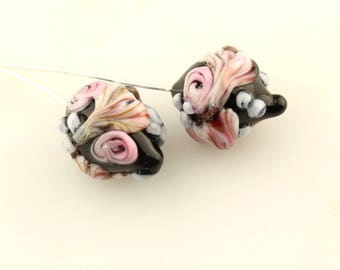 Lampwork Glass Bead Head Pins, Black  Headpin Floral on Fine Silver Wire Green, Lavender, Pink  Flowers
