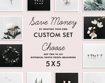 SAVE up to 20% - Custom Botanical Photo Set, Create your own set of TWO to SIX photography prints, 5x5 inches, Gallery Wall