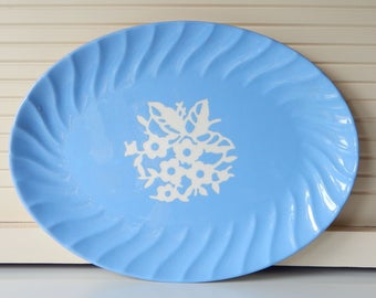 Vintage Platter or Serving Tray, Harker Pottery Cameo Ware, Dainty Flower Blue pattern