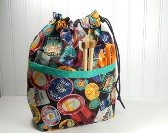 Drawstring bag, knitting bag, small pouch with pockets, gift for knitter, work in progress tote, sock knitting bag