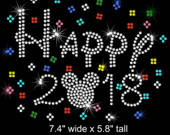 Mickey Mouse Happy New Year 2018 Disney iron on rhinestone transfer applique patch
