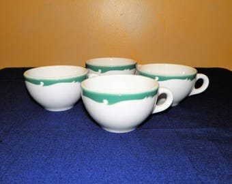 Syracuse China Restaurant Everglade Green Wave Mugs or Cups, Set of 4