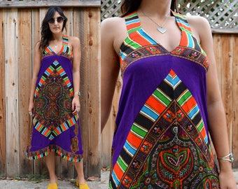 Vintage 70s BOHO SUMMER Dress XS S