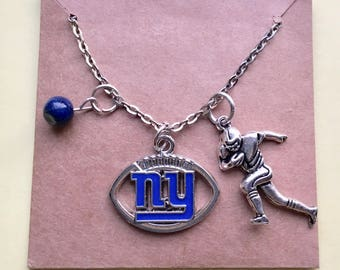 "New York Giants NFL charm necklace, 20 "" silver tone chain , NY Giants, ladies jewelry,"