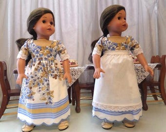 Blue Floral Doll Dress and White Doll Apron / 18 Inch Doll Clothes  / Doll Clothes / Doll Accessories / American Girl Doll - 1047