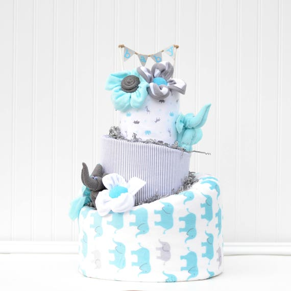 Elephant Diaper Cake Boy Elephant Baby Shower Gift Blue and Gray