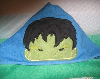 embroidered hooded bath towel