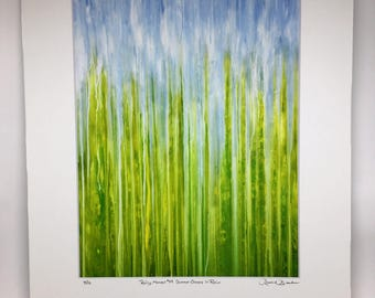 Summer Greens Rain Giclee Print Fine Art Print Rainy Moments by Rachel Brask