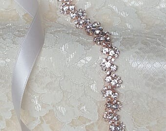 Rose Gold Crystal Rhinestone Bridal Sash,Wedding sash,Bridal Belt,Bridal Accessories,Bridal Belt,Style #58