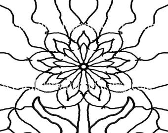 Flower Themed Coloring Pattern Digital Download Art Therapy