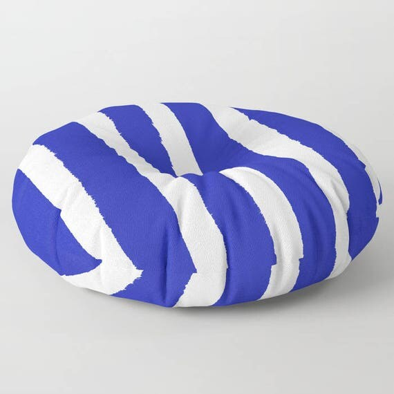 Azure Blue and White Striped floor cushion - Round cushion - Pillow - Round pillow - Cobalt Striped Floor pillow - 26 inch pillow - 30 inch