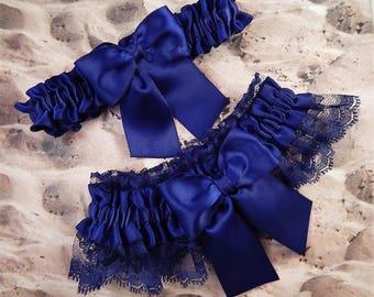 Wedding Garter Belt All Navy Blue Lace Toss Ready to ship Burgundy Set
