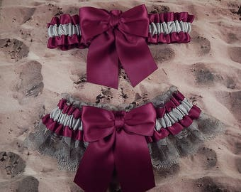 Burgundy Wine Gray Satin Gray Lace Wedding Bridal Garter Toss Set