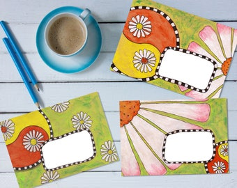 Yin Yang Daisies Mail Art Envelope Bundle - 'print your own' printable mail art pdf