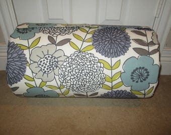 MONOGRAMMED Children THICK COMFY Nap Mat PreSchool Lavender Gray Contemporary Floral has Attached Grey Dotted  Minky Blanket and Pillow