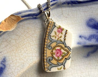 Broken china jewelry - china pendant necklace with chain - antique china shard pendant - delicate pink roses - made from a broken plate