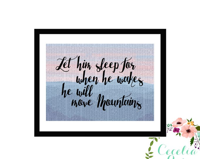 Let Him Sleep For When He Wakes He Will Move Mountains Vintage Book Art Box Frame Book Art or Print Farmhouse Style