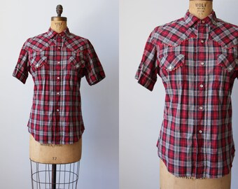 1950s Western Shirt - Vintage 50s Red Black Plaid Cotton Pearl Snap Blouse Top L XL - Back Forty Top