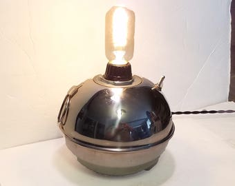 Industrial Steampunk Table Lamp Toledo Torch Smudge Pot Upcycled Recycled kerosene Lantern Toledo Ohio Edison Bulb Dieselpunk Loft Decor