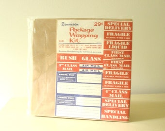 Dennison Package Wrapping Kit, 1960s paper, labels, Parcel Post, Air Mail, vintage office, stationery supply, mid-century postal labels