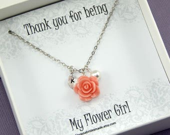 Flower Girl Necklace, Flower Girl Gift,Personalized Necklace, Flower Girl Jewelry,Junior Bridesmaids,Flower Girl Thank You gift