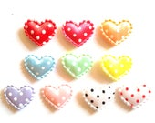 100 pcs Cute dot Satin Heart Padded Appliques size 20 x 15 mm mix colors