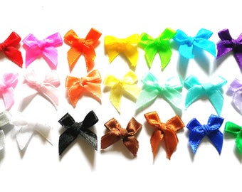 100 pcs  Cute Satin BOW Ribbon Appliques Embellishment Decoration  size 20 x 2 5mm assorted color