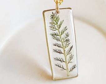 Pressed Fern Necklace, Pressed Flower Jewelry, Nature Gift, Green Fern Necklace, Resin Jewelry